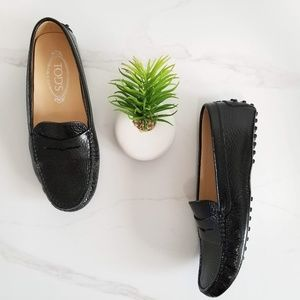 Tod's Black Gommino Patent Leather Driving Loafers